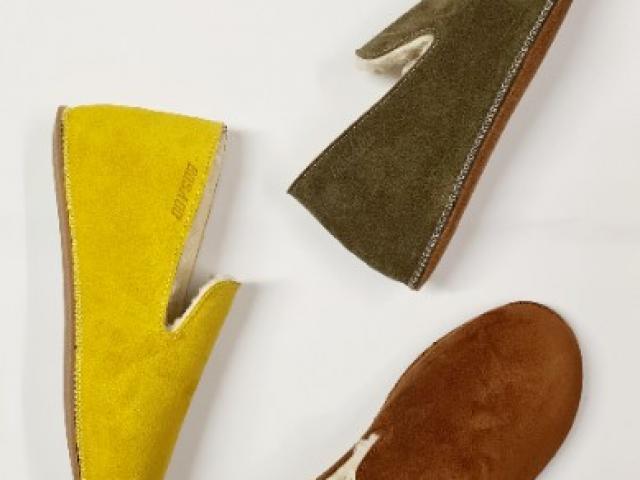 Chaussons coco cuir velours et un intérieur doublé laine véritable