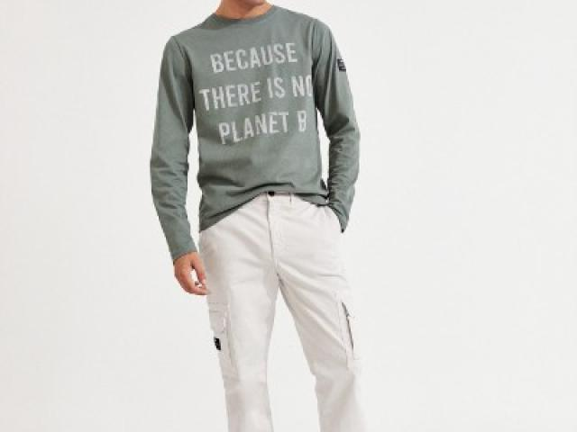 T-shirt manche longue Ecoalf message , coton biologique et recyclé